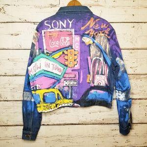 VTG 80s Talk of The Walk Hand Painted Denim Jacket